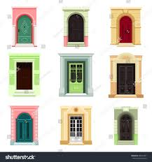 set isolated outdoor view on doors stock vector 688143391 set of isolated outdoor view on doors with glass entrance design for house icons