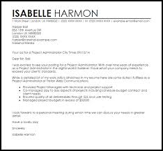 Cover Letter For Project Administrator project administrator cover letter sle livecareer