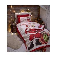 Christmas Duvet Cover Sets Catherine Lansfield Retro Santa Christmas Duvet Cover Set