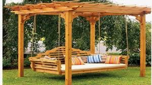 outdoor swinging bed outside pergola swings outdoor swing with