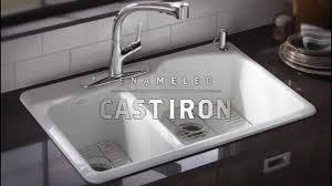 kohler cast iron kitchen sink cast iron kitchen sinks shop kohler hartland 22 in x 33 in white