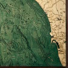 San Diego Beaches Map by Los Angeles San Diego Wood Map 3d Nautical Topographic Chart Art