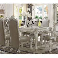 Dining Room Arm Chairs Acme United Antique Traditional Bone White 7pc Dining Set Dining