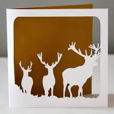 stags silhouette christmas card by whole in the middle