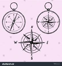 set compass doodle style sketch illustration stock vector