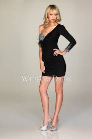shoulder satin black long sleeve rhinestone short length empire