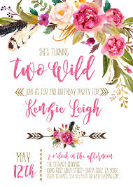 2nd Birthday Invitation Card Boho Invitations Second Birthday Two Wild Birthday Party 2nd