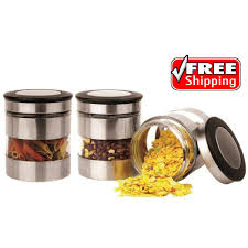 stainless kitchen canisters 3 piece stainless steel canister storage set jars pots glass with