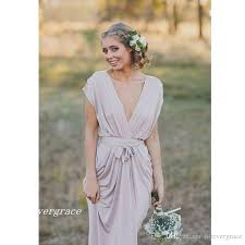 2017 cheap french country grey boho chiffon bridesmaid dress