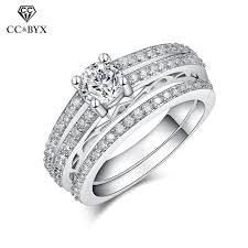 2 wedding rings cincin wanita plated bridal sets wedding rings 2