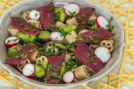 recette de salade de pâtes aux fèves chignons et magret