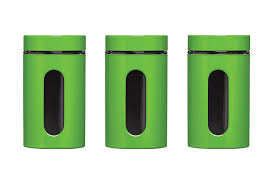 Green Kitchen Canister Set Premier Housewares Storage Canisters Green Set Of 3 Amazon Co