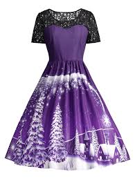 ugly christmas party lace panel vintage dress in purple l