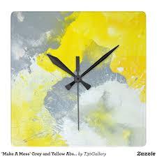 make a mess u0027 grey and yellow abstract art clock clocks
