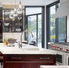 Cherry Kitchen Islands Cherry Kitchen Cabinets With Gray Wall And Quartz Countertops Ideas