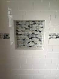 bathroom shower niche ideas blue subway shower tiles frame two white glass mini brick tiled
