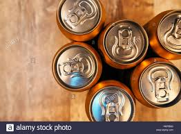 Wooden Table Top View Beer Cans On Rustic Wooden Table Top View With Copy Space Stock