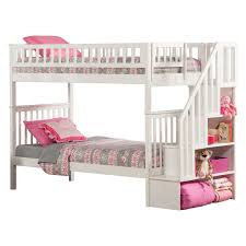Woodland Twin Over Twin Staircase Bunk Bed Hayneedle - White bunk bed with drawers