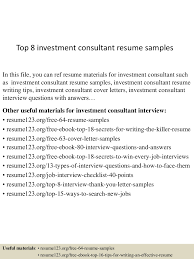 Sample Investment Agreement Top8investmentconsultantresumesamples 150518043531 Lva1 App6891 Thumbnail 4 Jpg Cb U003d1431923797