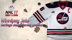 heritage uniforms and jerseys nhl 17 beta winnipeg jets heritage classic jersey creation youtube
