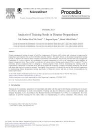 analysis of training needs in disaster preparedness