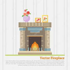 vector illustration of fireplace u2014 stock vector