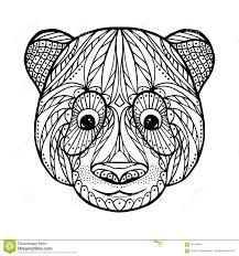 zen tangle head of panda stock vector image 70144441