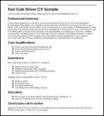 Sample Resume Of Driver by Taxi Cab Driver Cv Sample Myperfectcv