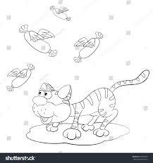 cartoon cat stalking sausage wings coloring stock vector 230039050