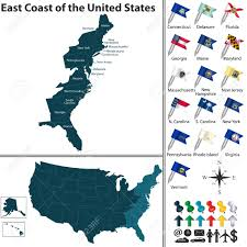 Map East Coast Florida by Vector Set Of East Coast Of The United States With Flags And
