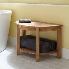 Teak Bathroom Furniture Surya Large Half Circle Teak Shower Seat Bathroom