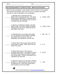 fillable online matching worksheet rewriting expressions math