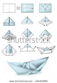 How To Make Boat From Paper - paper boat illustration tutorial stock vector