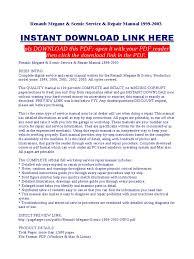 renault megane scenic service repair manual 1999 2003