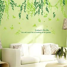 green wall decor plant modern wall sticker green leaves curtain wall stickers home