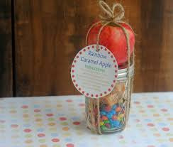Caramel Apple Party Favors 12 Days Of Diy Gifts In A Jar Rainbow Caramel Apple Mason Jar Gift