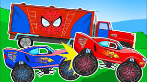 toy monster trucks racing monster trucks racing car toy police suerhero crash surprise