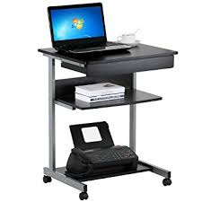 Small Laptop And Printer Desk Topeakmart Black Wood Small Laptop Computer Cart Desk