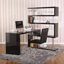 modern glossy black wooden corner working desk with bookshelves of