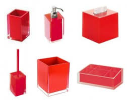 Red And Black Bathroom Accessories Sets Free Shipping Acrylic Pcs Bathroo Andrea Double Sink Bathroom