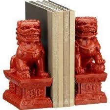 orange foo dogs fu dog bookends set