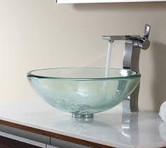 Clear Glass Bathroom Sinks - bathroom glass vessel sink and faucet combination kraususa com