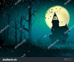 background halloween scene moon old castle stock vector 493290562