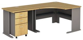 Light Wood Computer Desk Bush Series A 3 Piece Corner Computer Desk In Light Oak