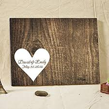 Wooden Wedding Gifts Amazon Com Wedding Guest Book Personalized Rustic Wood Canvas