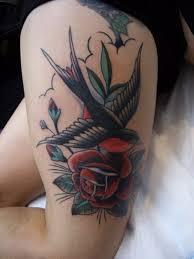 rose swallow tattoo on thigh golfian com