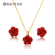 red rose necklace images Fashion jewelry stainless steel red flower necklace earring set jpg