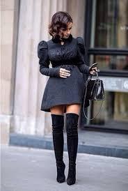shoes overtheknee boots black dress grey fashion mode