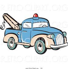 Old Ford Truck Vector - retro clipart of a blue toy tow truck with a hook on the tailgate