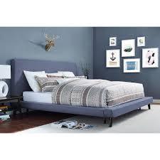 dane nixon mod mid century modern platform upholstered bed beige